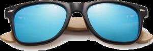 Lunettes de soleil Classique en bois de Bambou - Forme Wayfarer - Bleu - Vue de Face - Centré