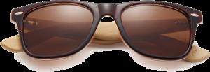 Lunettes de soleil Classique en bois de Bambou - Forme Wayfarer - Marron - Vue de Face - Centré