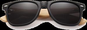 Lunettes de soleil Classique en bois de Bambou - Forme Wayfarer - Noir Mate - Vue de Face - Centré