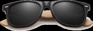 Lunettes de soleil Classique en bois de Bambou - Forme Wayfarer - Noir - Vue de Face - Centré