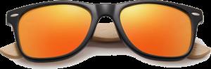 Lunettes de soleil Classique en bois de Bambou - Forme Wayfarer - Orange - Vue de Face - Centré