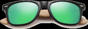 Lunettes de soleil Classique en bois de Bambou - Forme Wayfarer - Vert - Vue de Face - Centré