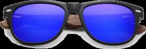 Lunettes de soleil Classique en bois de Noyer - Forme Wayfarer - Bleu Foncé - Vue de Face - Centré