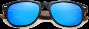 Lunettes de soleil Classique en bois de Noyer - Forme Wayfarer - Bleu - Vue de Face - Centré