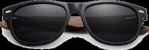 Lunettes de soleil Classique en bois de Noyer - Forme Wayfarer - Noir - Vue de Face - Centré