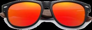 Lunettes de soleil Classique en bois de Noyer - Forme Wayfarer - Orange - Vue de Face - Centré