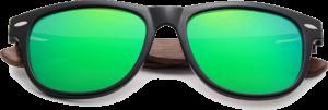 Lunettes de soleil Classique en bois de Noyer - Forme Wayfarer - Vert - Vue de Face - Centré