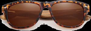 Lunettes de soleil Classique en bois de Zebrano - Forme Wayfarer - Leopard - Vue de Face - Centré