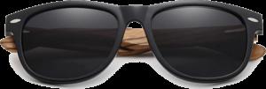 Lunettes de soleil Classique en bois de Zebrano - Forme Wayfarer - Noir - Vue de Face - Centré
