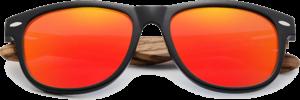 Lunettes de soleil Classique en bois de Zebrano - Forme Wayfarer - Orange - Vue de Face - Centré