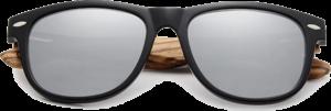 Lunettes de soleil Classique en bois de Zebrano - Forme Wayfarer - Silver - Vue de Face - Centré