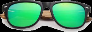 Lunettes de soleil Classique en bois de Zebrano - Forme Wayfarer - Vert - Vue de Face - Centré