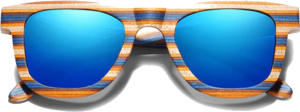 Lunettes de soleil Full Wood en bois de Bambou Coloré Foncé - Forme Wayfarer - Bleu - Vue de Face - Centré