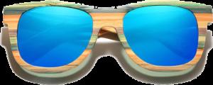 Lunettes de soleil Full Wood en bois de Bambou Coloré - Forme Wayfarer - Bleu - Vue de Face - Centré