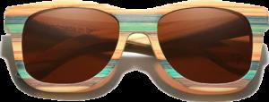 Lunettes de soleil Full Wood en bois de Bambou Coloré - Forme Wayfarer - Marron - Vue de Face - Centré