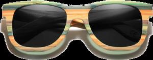 Lunettes de soleil Full Wood en bois de Bambou Coloré - Forme Wayfarer - Noir - Vue de Face - Centré