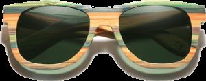 Lunettes de soleil Full Wood en bois de Bambou Coloré - Forme Wayfarer - Vert - Vue de Face - Centré