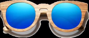 Lunettes de soleil Full Wood en bois de Zebrano - Forme Ronde - Bleu - Vue de Face - Centré