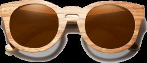 Lunettes de soleil Full Wood en bois de Zebrano - Forme Ronde - Marron - Vue de Face - Centré