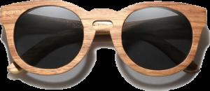 Lunettes de soleil Full Wood en bois de Zebrano - Forme Ronde - Noir - Vue de Face - Centré