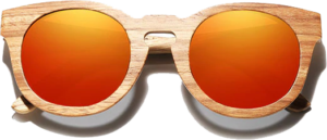 Lunettes de soleil Full Wood en bois de Zebrano - Forme Ronde - Rouge - Vue de Face - Centré