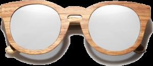 Lunettes de soleil Full Wood en bois de Zebrano - Forme Ronde - Silver - Vue de Face - Centré