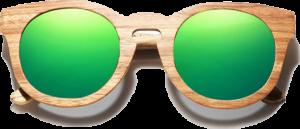Lunettes de soleil Full Wood en bois de Zebrano - Forme Ronde - Vert - Vue de Face - Centré