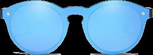 Lunettes de soleil Mirror en bois de Bambou - Forme Ronde - Bleu - Vue de Face - Centré