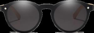 Lunettes de soleil Mirror en bois de Bambou - Forme Ronde - Noir - Vue de Face - Centré