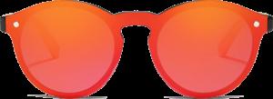 Lunettes de soleil Mirror en bois de Bambou - Forme Ronde - Rouge - Vue de Face - Centré