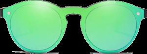 Lunettes de soleil Mirror en bois de Bambou - Forme Ronde - Vert - Vue de Face - Centré