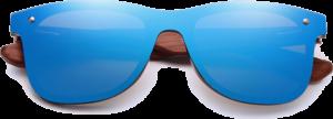 Lunettes de soleil Mirror en bois de Bubinga - Forme Wayfarer - Bleu - Vue de Face - Centré