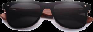 Lunettes de soleil Mirror en bois de Bubinga - Forme Wayfarer - Noir - Vue de Face - Centré