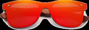 Lunettes de soleil Mirror en bois de Bubinga - Forme Wayfarer - Rouge - Vue de Face - Centré