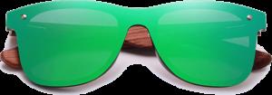 Lunettes de soleil Mirror en bois de Bubinga - Forme Wayfarer - Vert - Vue de Face - Centré
