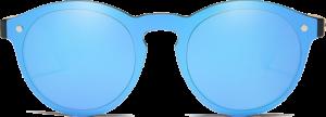 Lunettes de soleil Mirror en bois de Chêne - Forme Ronde - Bleu - Vue de Face - Centré
