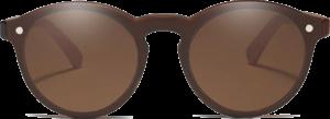 Lunettes de soleil Mirror en bois de Chêne - Forme Ronde - Marron - Vue de Face - Centré