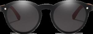 Lunettes de soleil Mirror en bois de Chêne - Forme Ronde - Noir - Vue de Face - Centré
