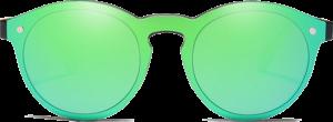Lunettes de soleil Mirror en bois de Chêne - Forme Ronde - Vert - Vue de Face - Centré
