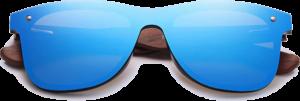 Lunettes de soleil Mirror en bois de Noyer - Forme Wayfarer - Bleu - Vue de Face - Centré