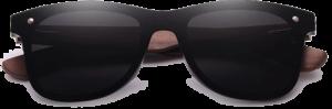 Lunettes de soleil Mirror en bois de Noyer - Forme Wayfarer - Noir - Vue de Face - Centré