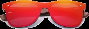 Lunettes de soleil Mirror en bois de Noyer - Forme Wayfarer - Rouge - Vue de Face - Centré