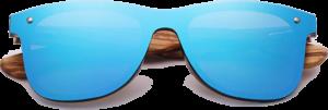 Lunettes de soleil Mirror en bois de Zebrano - Forme Wayfarer - Bleu - Vue de Face - Centré