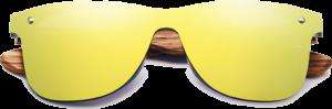 Lunettes de soleil Mirror en bois de Zebrano - Forme Wayfarer - Gold - Vue de Face - Centré