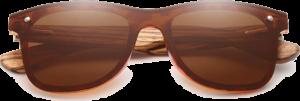 Lunettes de soleil Mirror en bois de Zebrano - Forme Wayfarer - Marron - Vue de Face - Centré