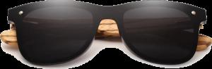 Lunettes de soleil Mirror en bois de Zebrano - Forme Wayfarer - Noir - Vue de Face - Centré
