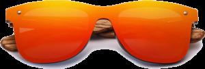 Lunettes de soleil Mirror en bois de Zebrano - Forme Wayfarer - Rouge - Vue de Face - Centré