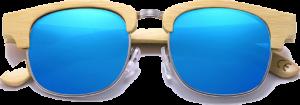 Lunettes de soleil Retro en bois de Bambou - Forme Ronde - Bleu - Vue de Face - Centré