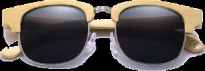 Lunettes de soleil Retro en bois de Bambou - Forme Ronde - Noir - Vue de Face - Centré