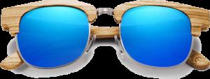 Lunettes de soleil Retro en bois de Zebrano - Forme Ronde - Bleu - Vue de Face - Centré